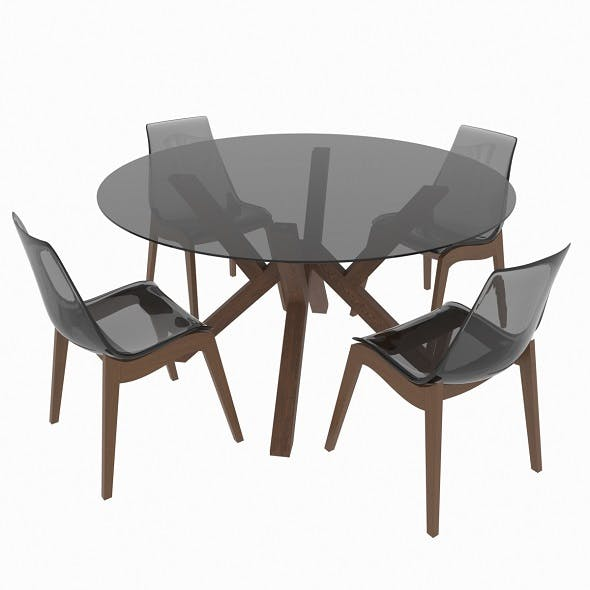 Dining set of classic Italian design consisting of a table and chairs Calligaris Mikado - 3DOcean Item for Sale