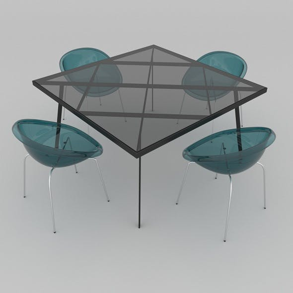 Dining set of Italian design consisting of a table Calligaris Frame and chairs Calligaris Bloom - 3DOcean Item for Sale