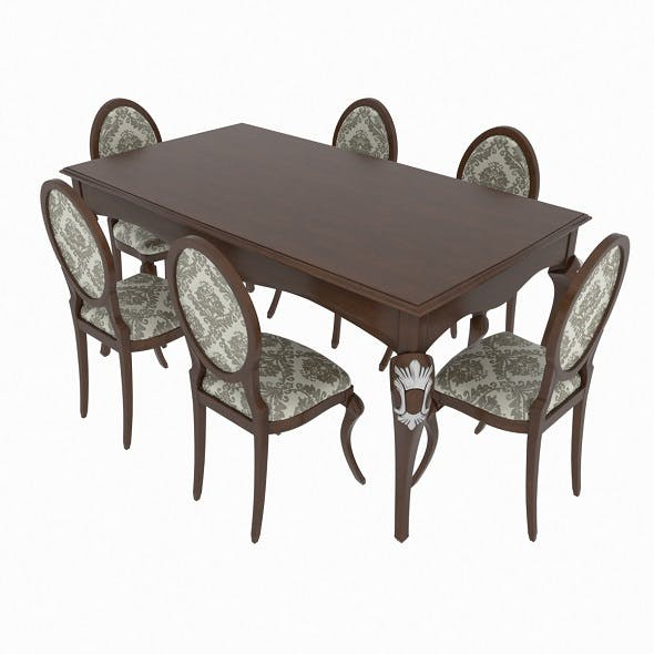 Dining set of classic Italian design consisting of a table and chairs Giorgio Casa- Memorie Venezia - 3DOcean Item for Sale