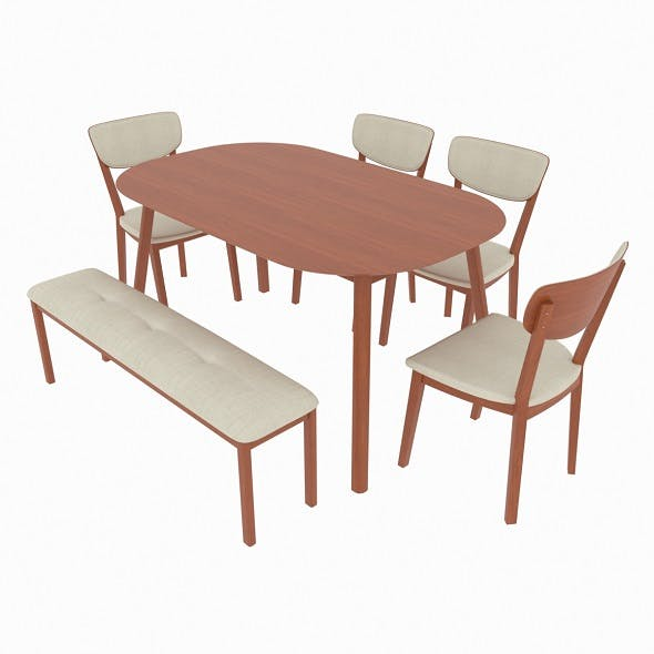 Dining set consisting of a table and chairs Kaori - 3DOcean Item for Sale