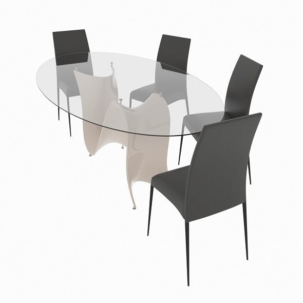 Dining set consisting of a table and chairs Wave - 3DOcean Item for Sale
