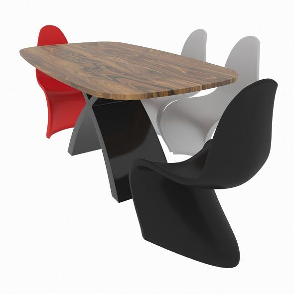 Dining set consisting of a table Tokyo and chairs Panton