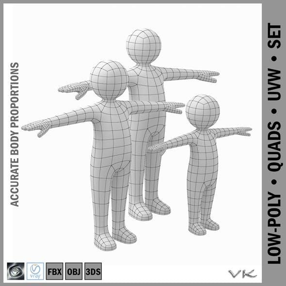 Stickman Kids Character 3D Model