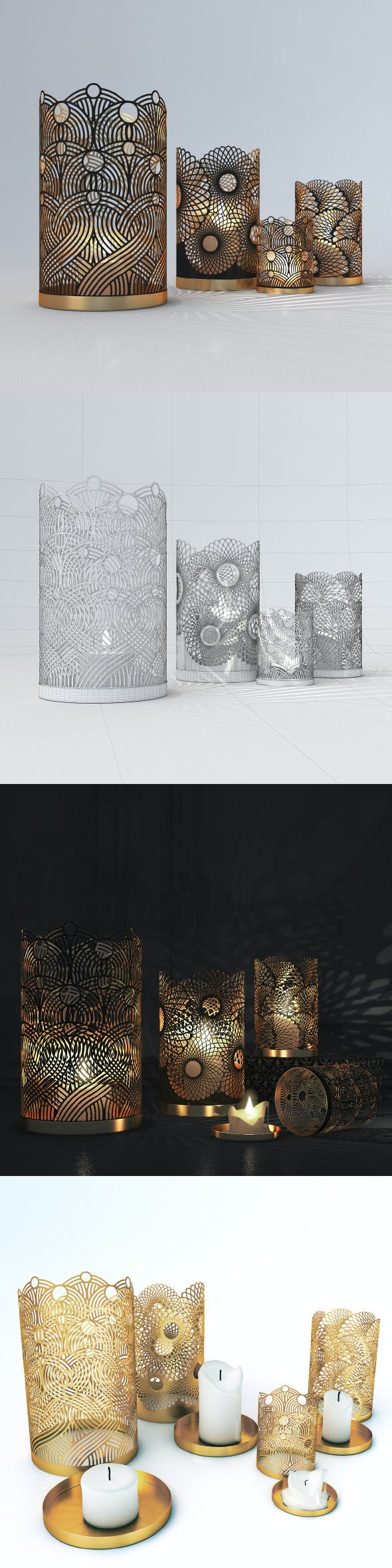 Decorative Openwork Candle Holders - 3DOcean Item for Sale