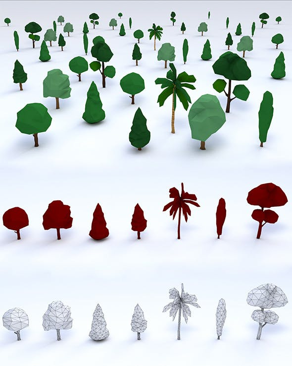 Pack of Low Poly Trees - 3DOcean Item for Sale