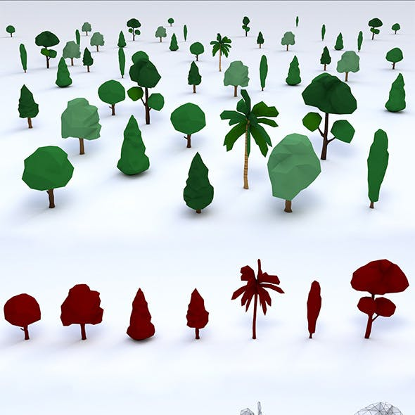 Pack of Low Poly Trees