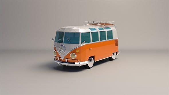 Low-Poly Cartoon VW Transporter Bus - 3DOcean Item for Sale