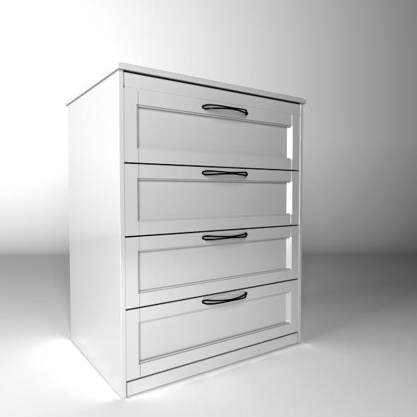 Chest of 4 drawers white - 3DOcean Item for Sale