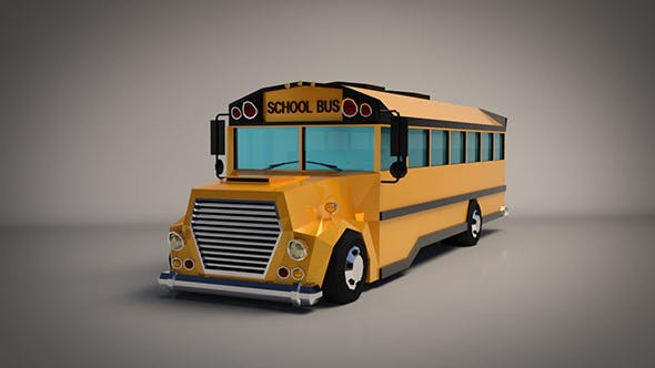 Low-Poly Cartoon School Bus by Linder-Media | 3DOcean
