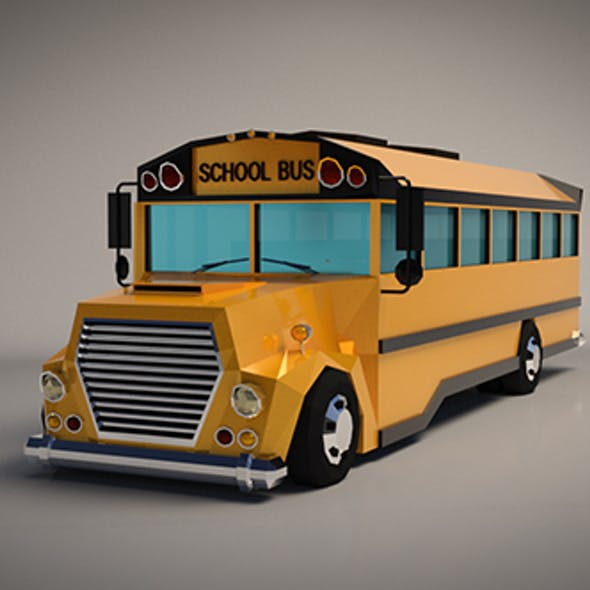 Low-Poly Cartoon School Bus
