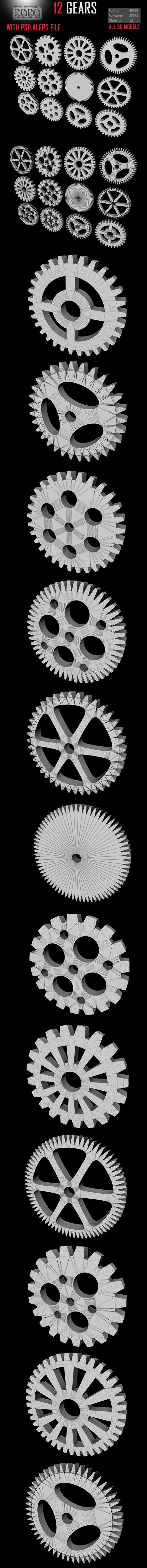 14 Gears 3D Model - 3DOcean Item for Sale