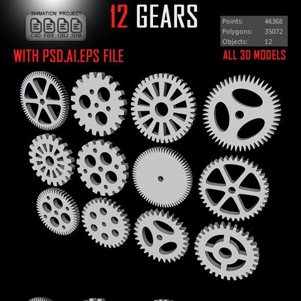 14 Gears 3D Model
