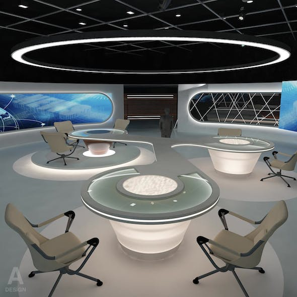 Virtual TV Studio News Set 28