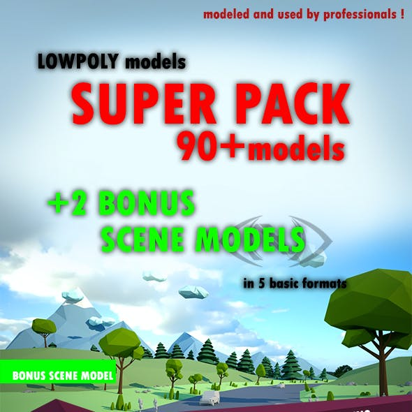 Lowpoly super pack people, trees,cars