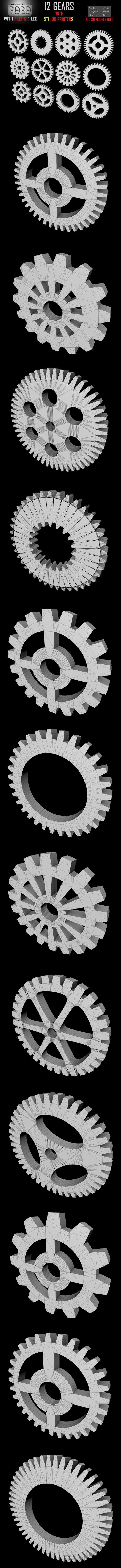 12 Gears 3D ModelS - 3DOcean Item for Sale