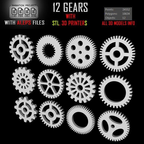 12 Gears 3D ModelS