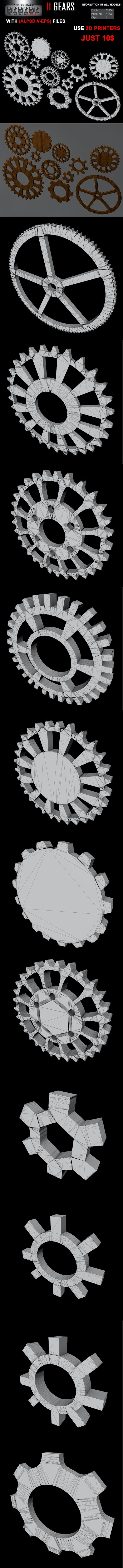 11 Gears 3D Model With (AI, PSD) Files FULL - 3DOcean Item for Sale