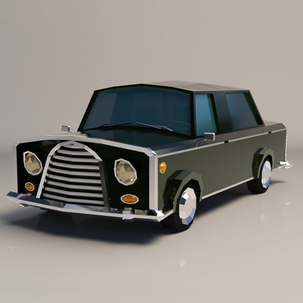Low-Poly Cartoon Limousine Car
