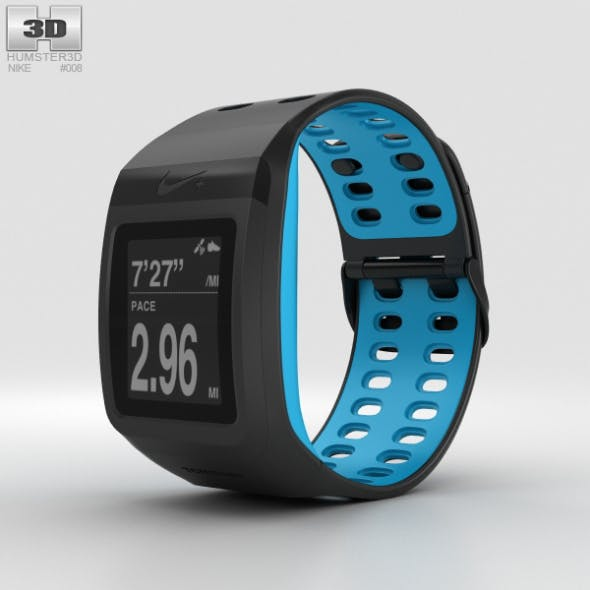 Nike+ SportWatch GPS Anthracite/Blue Glow - 3DOcean Item for Sale