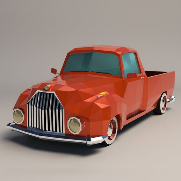 Low-Poly Cartoon Vintage Pickup Truck