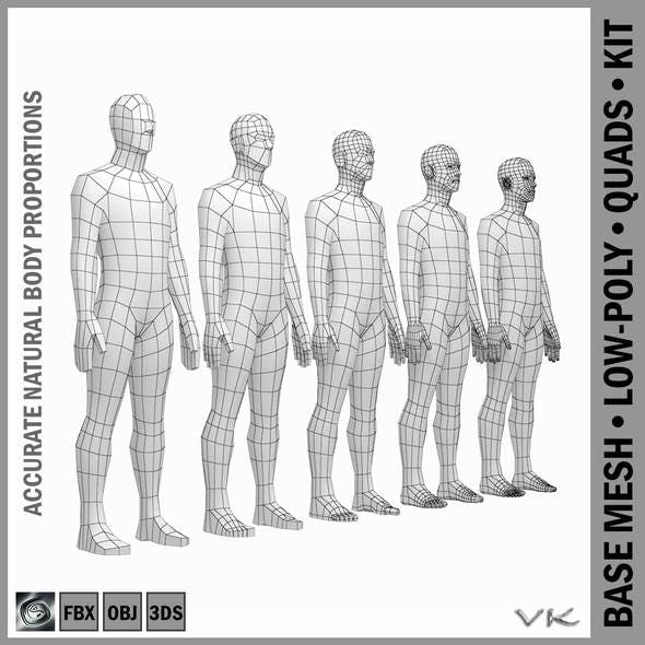 Male Body Base Mesh in Rest Pose - 3DOcean Item for Sale
