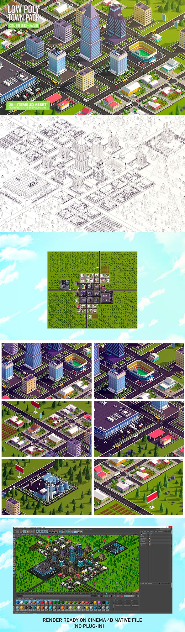 Cartoon Low Poly Town City Pack - 3DOcean Item for Sale