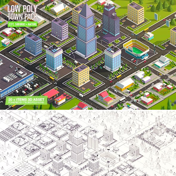 Cartoon Low Poly Town City Pack