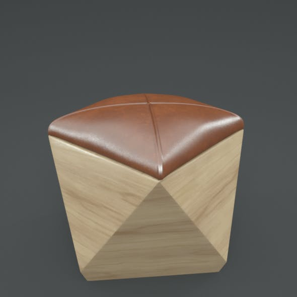 Hexagon Wood Ottoman-Chair - 3DOcean Item for Sale