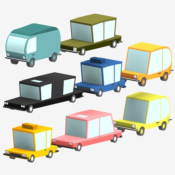 3D Low poly Cars - 3DOcean Item for Sale