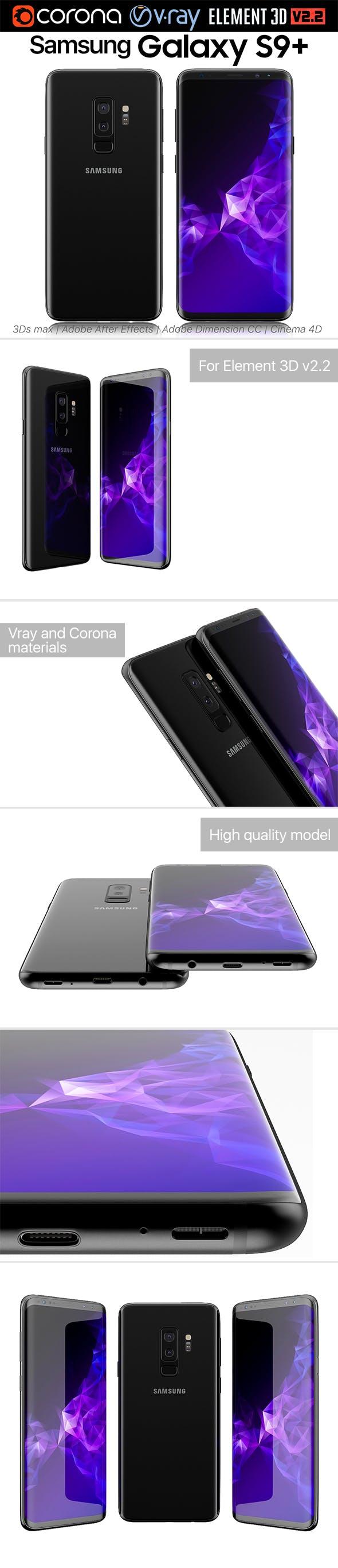 Samsung Galaxy S9 PLUS Black - 3DOcean Item for Sale