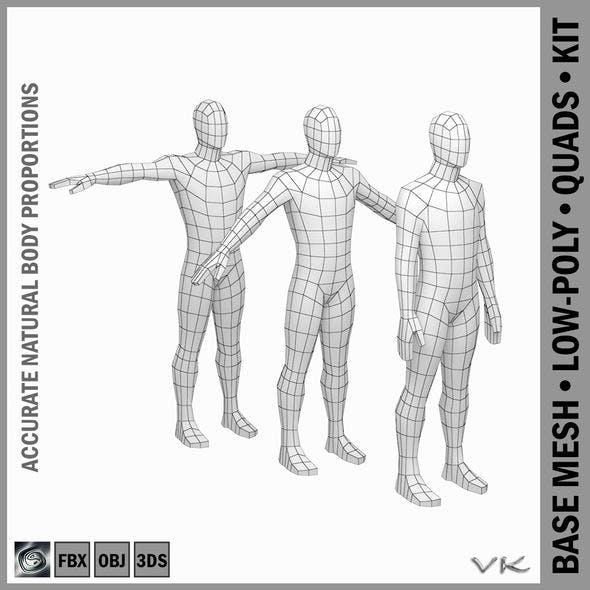 Male Body Base Mesh in 3 Poses