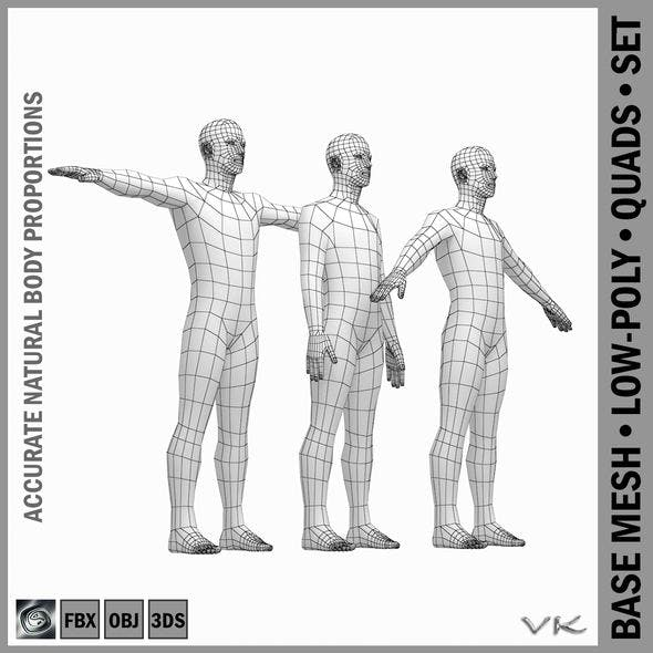Male Body Base Mesh with Detailed Head and Limbs in 3 Poses