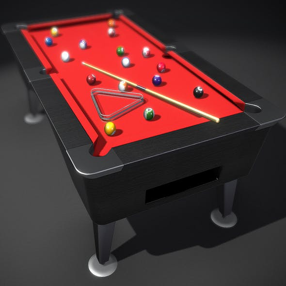 Pool Table ( Balls, Cue, And Rack )