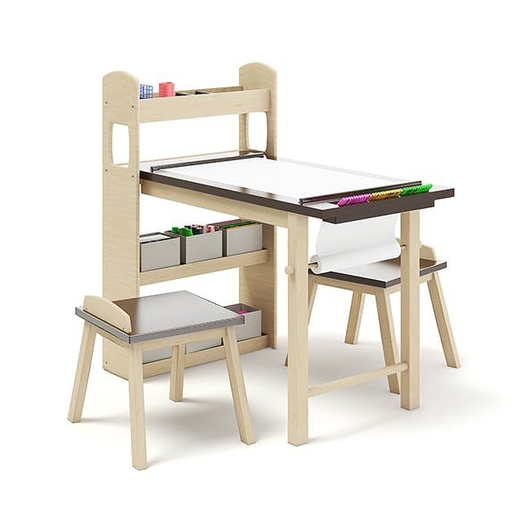 Kids Drawing Desk with Stools - 3DOcean Item for Sale