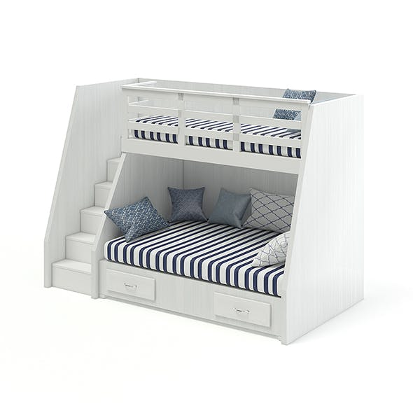 Bunk Bed with Stairs - 3DOcean Item for Sale