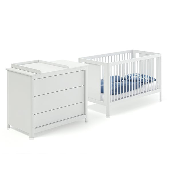 Baby Bed and White Cabinet