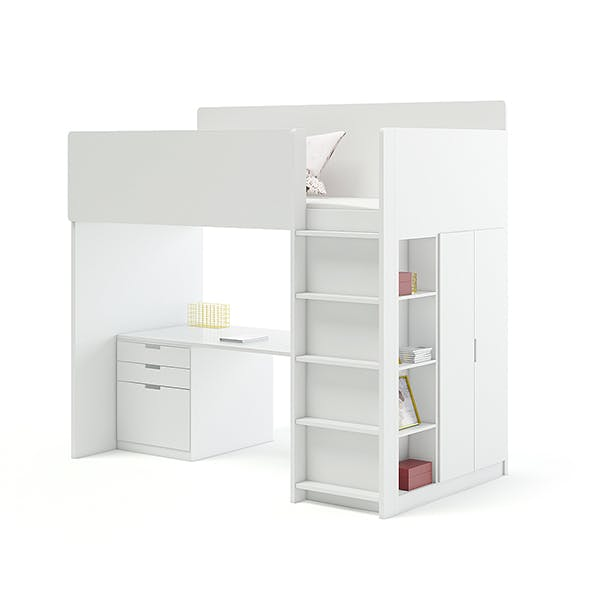 White Bunk Bed with Desk - 3DOcean Item for Sale