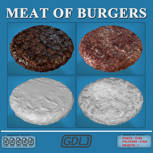 Meat of burgers 3D Models Full Quality - 3DOcean Item for Sale