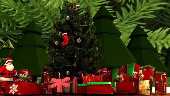 Christmas tree and decorations. - 3DOcean Item for Sale