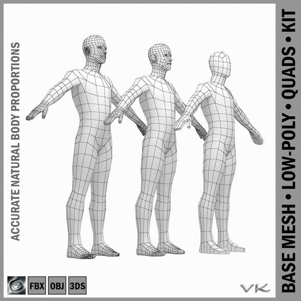 Male Low Poly Base Mesh in A-Pose - 3DOcean Item for Sale