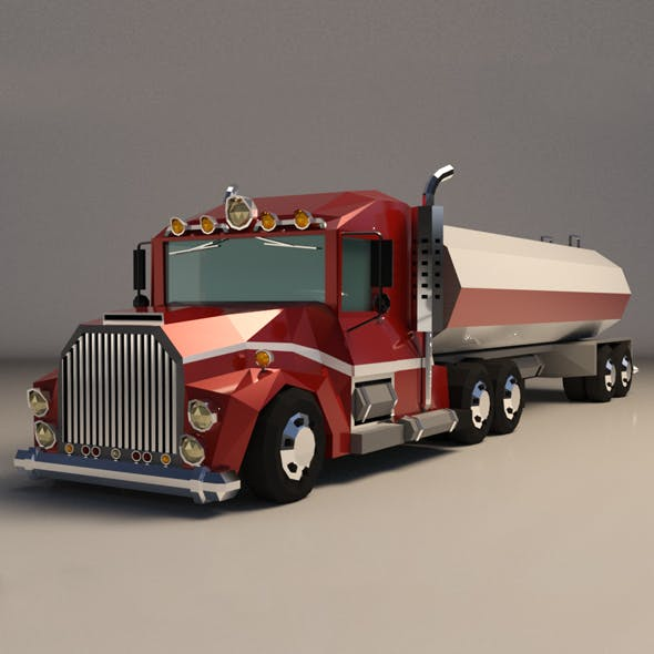 Low-Poly Cartoon Tank Truck