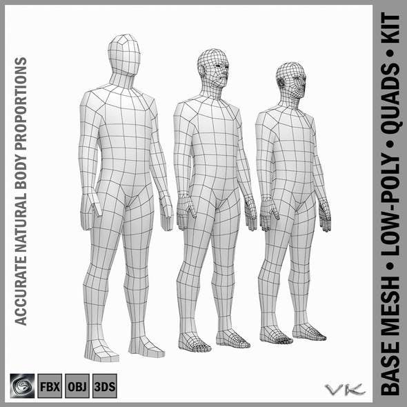 Male Low Poly Base Mesh in Rest Pose