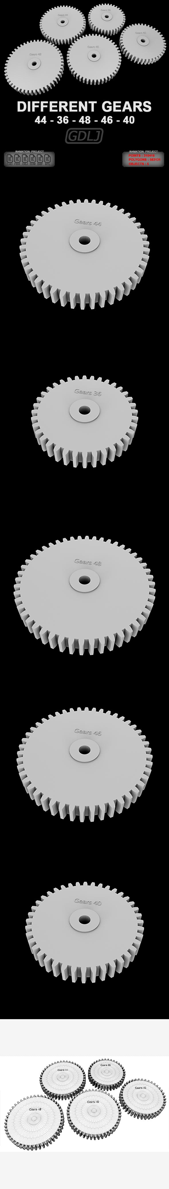 5 Different gears - 3DOcean Item for Sale