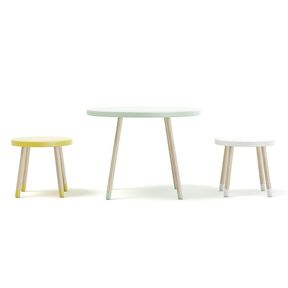 Three Color Children's Table and Stools - 3DOcean Item for Sale