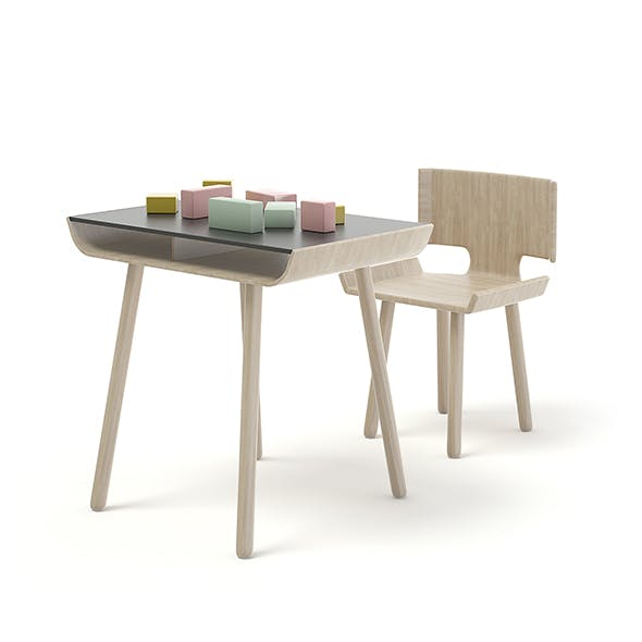 Children Chair and Table with Blocks - 3DOcean Item for Sale