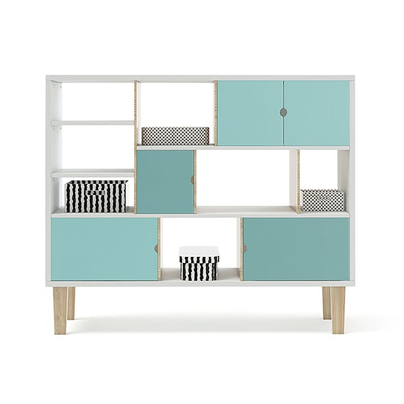 Wooden Shelf with Black and White Boxes