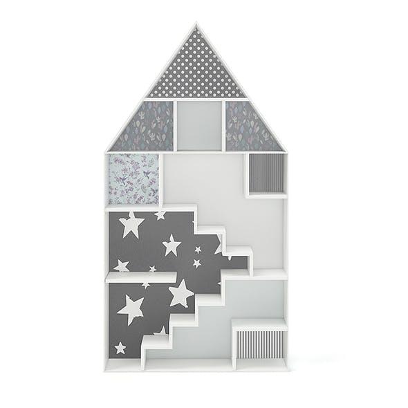 House Shape Shelf with Patterned Back - 3DOcean Item for Sale