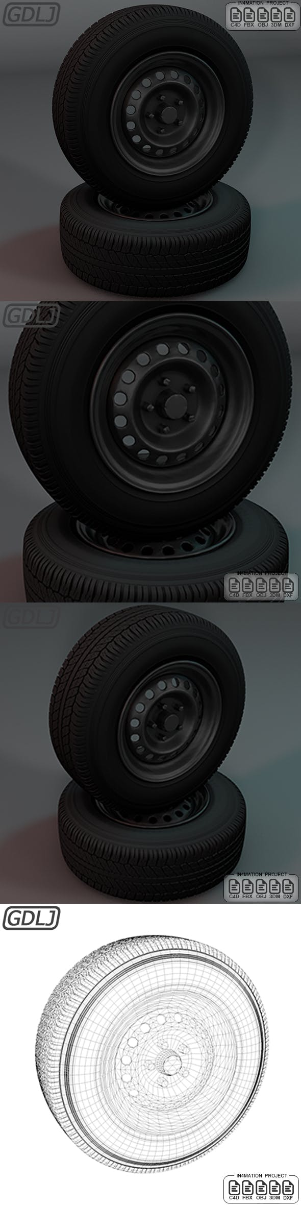 Standard steel wheel 3D Model - 3DOcean Item for Sale