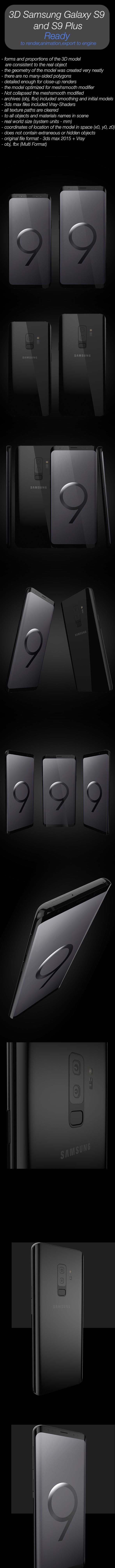 3D Samsung Galaxy S9 and S9 Plus - 3DOcean Item for Sale