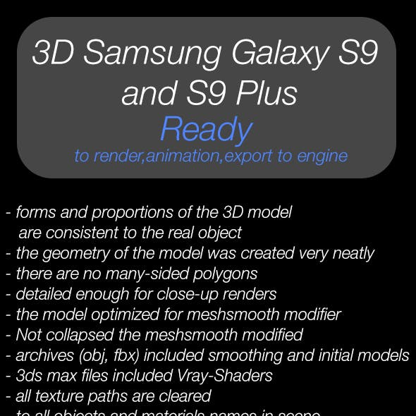 3D Samsung Galaxy S9 and S9 Plus